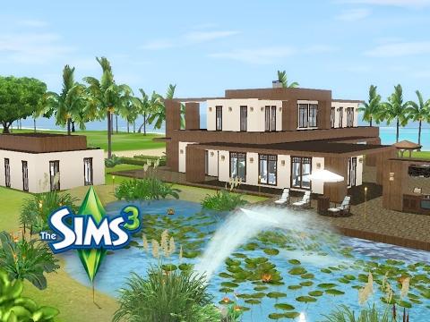 sims 3 haus bauen let 39 s build modernes haus mit gro em teich und schickem pool youtube. Black Bedroom Furniture Sets. Home Design Ideas