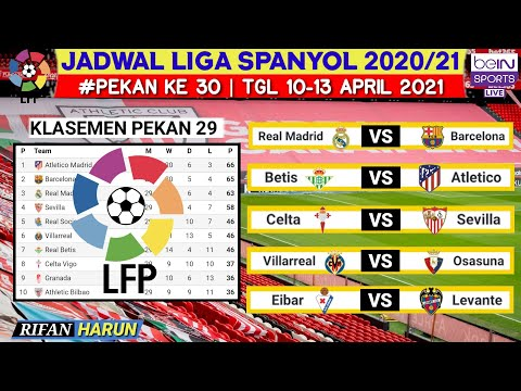 Jadwal Liga Spanyol Pekan 30 | Real madrid vs Barcelona | Klasemen La Liga 2021 | Live Bein sport