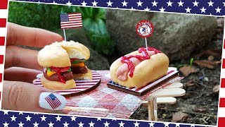 4th JULY -American MINI CAKES: hamburger&hotdog/ASMR/Independence Day/Jenny's mini cooking/real cake