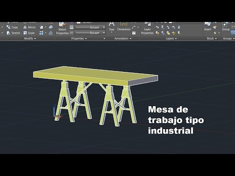 Autocad modelar mesa Vintage Industrial