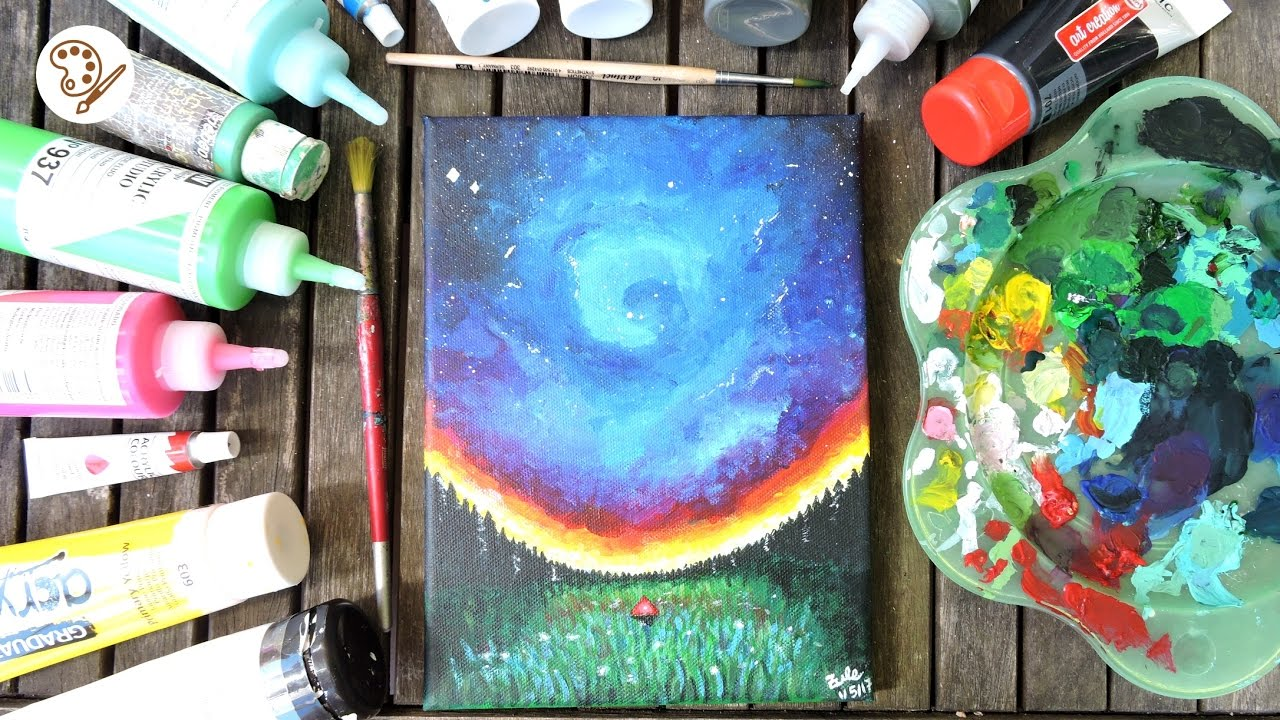 Como pintar con acr licos para principiantes galaxia y - Cuadros para principiantes ...