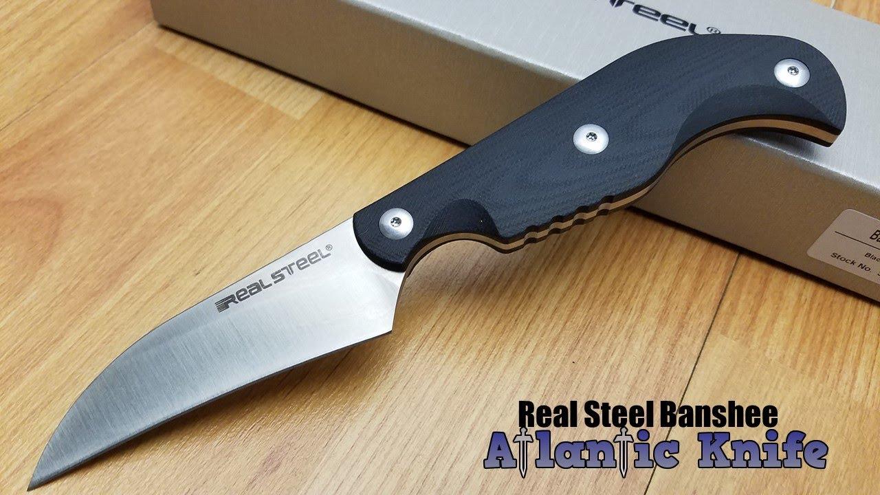 REAL STEEL BANSHEE BLACK G10 HANDLE ANTI-SLIP FIXED HAWKBILL D2 BLADE KNIFE  3211