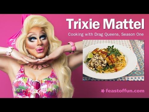 Cooking w Drag Queens  Trixie Mattel  Tofu Pad Thai w Watercress and Almonds