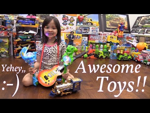 Toy Train w/ Lights and Sounds, Guitar Toy, Light-Up T-Rex Dinosaur and Dolphin Playtime