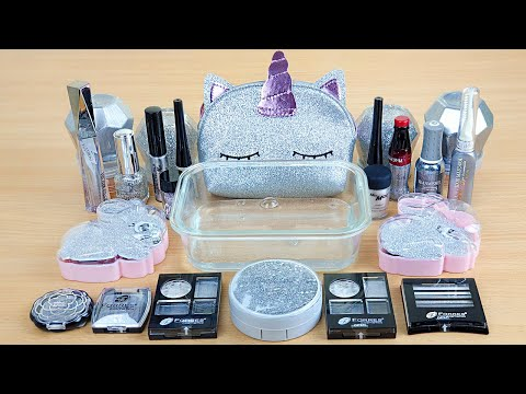 Silver Slime - Mixing Makeup And Glitter Into Clear Slime USlime Mixing