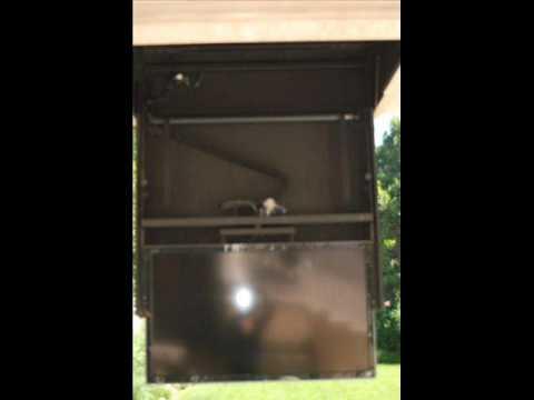 Flip down tv lift with motorized swivel call for Motorized tv lift with swivel