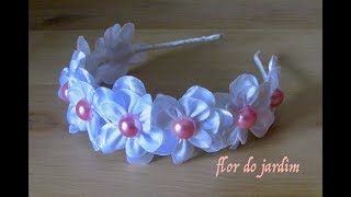Tiara com flores e meia pérolas- How to make satin ribbon roses