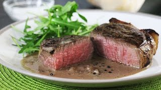 Sous Vide Steak with Black Peppercorn Sauce