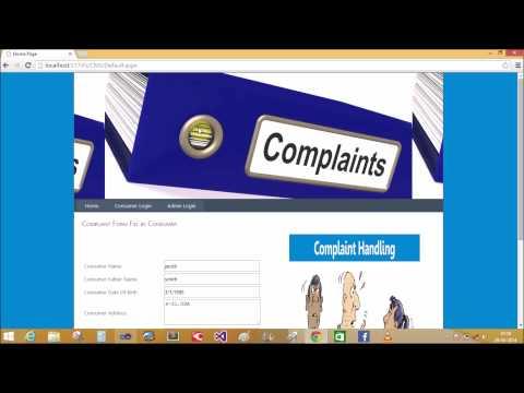 Complaints management System Project in asp net