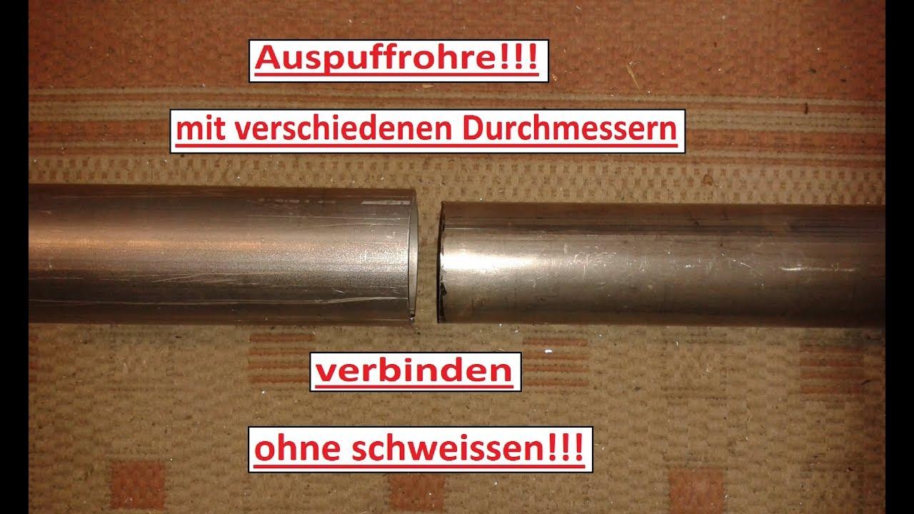 Rohr Reduzierstück 55mm auf 65mm Auspuff Adapter Bandstahl Schellen Verbinder