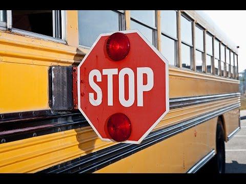 Nissan Passing Stopped School Bus Vine Street (Harrisonburg, Virginia)
