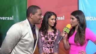 Janina Gavankar and Laz Alonso from The Mysteries of Laura @ NBC Red Carpet | AfterBuzz TV Interview