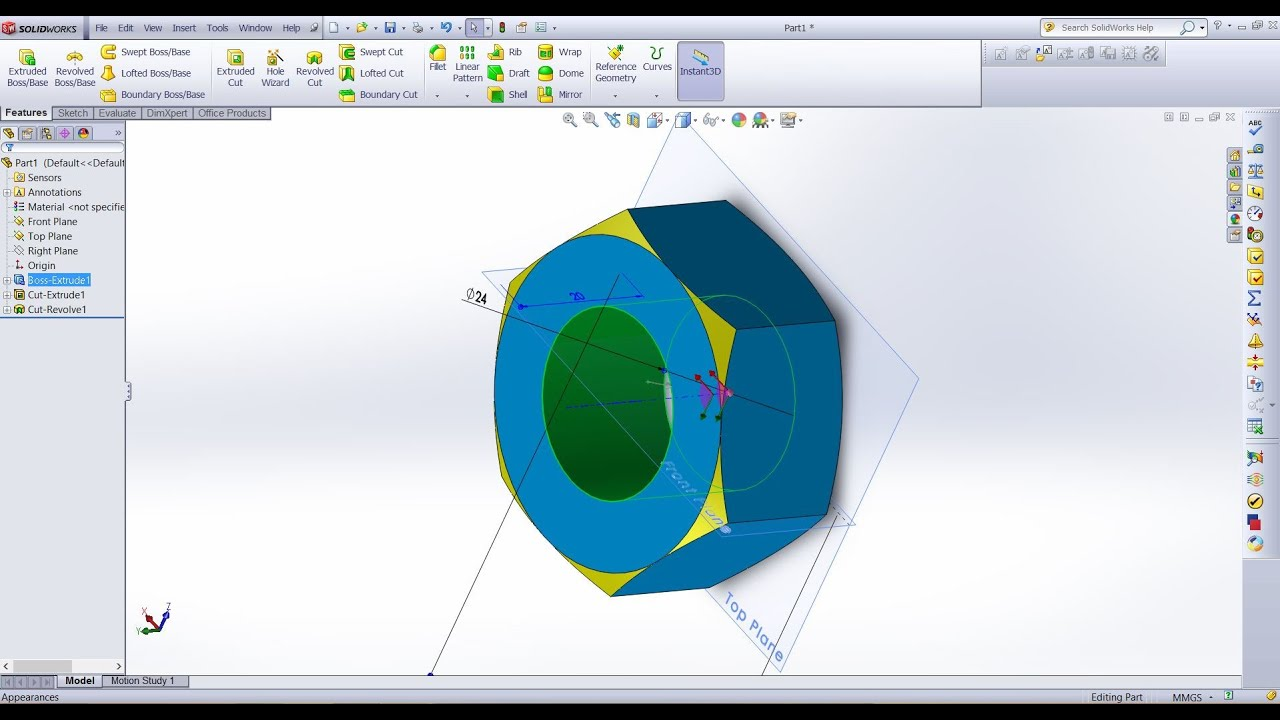 solidworks tutorial 2 methods of making a nut with chamfered