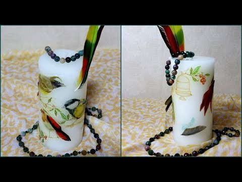 DIY  Candle with Paper Napkin and Feathers l Decoupage Candle Tutorial with English Subtitle