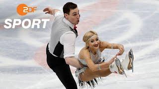 Aljona Savchenko & Bruno Massot nach Kurzprogramm auf Gold-Kurs I Eiskunstlauf WM 2018 Mailand - ZDF