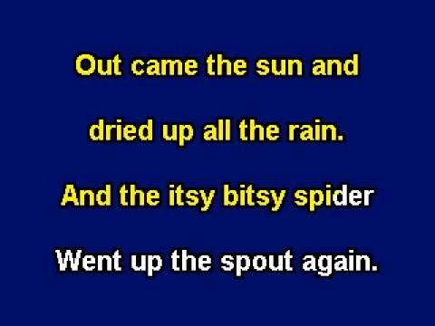 Itsy Bitsy Spider, Karaoke video with lyrics, Instrumental version