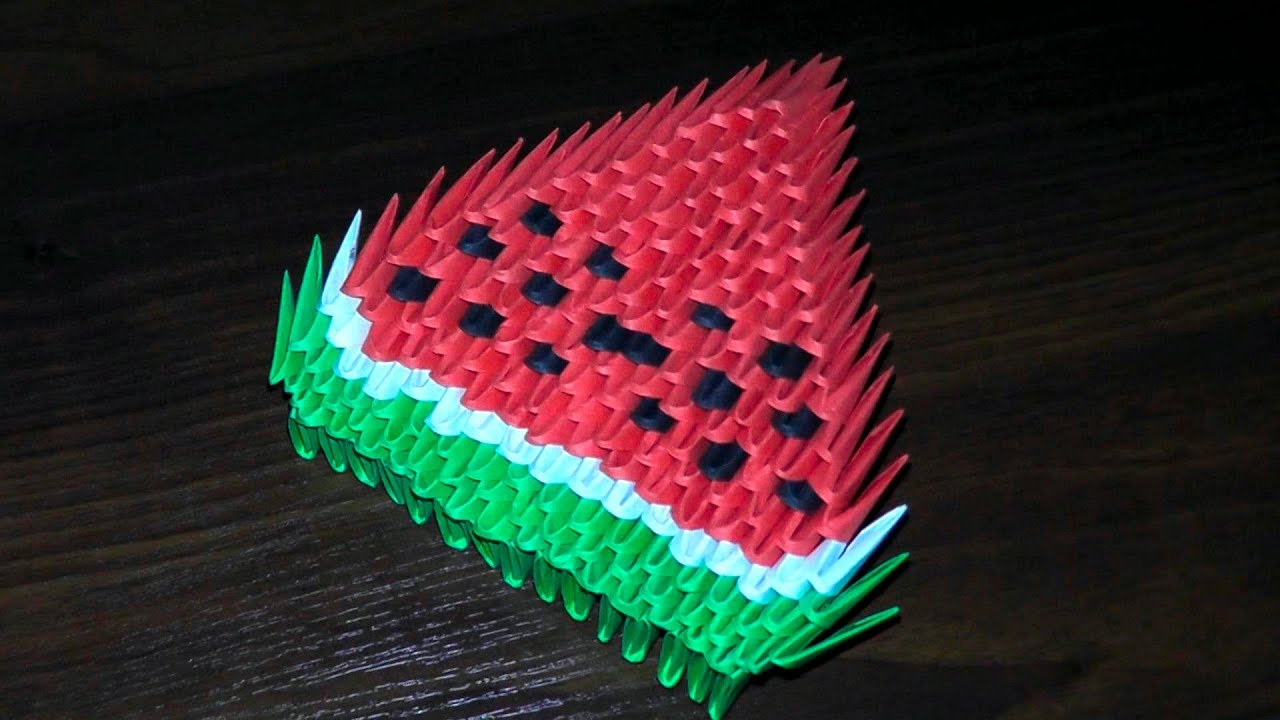 3D origami watermelon for beginners (tutorial ... - photo#5