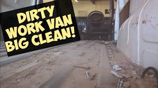 Cleaning a filthy work van, Ford Transit Connect.