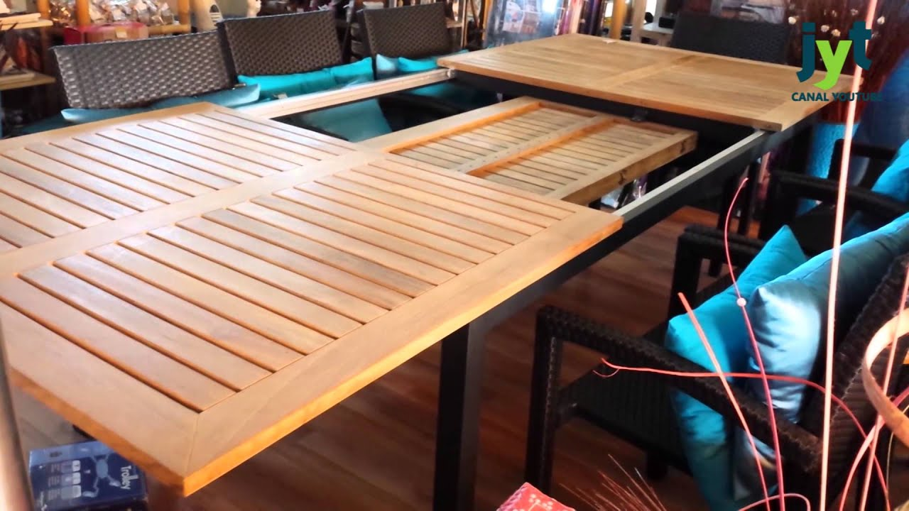 C mo se abre mesa teka tienda online muebles jardin youtube for Muebles de teka para jardin