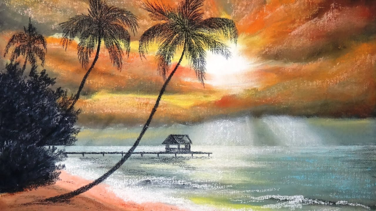 Good Afternoon 3d Wallpaper How To Draw Sunset At Palm Beach With Pastel Part 1