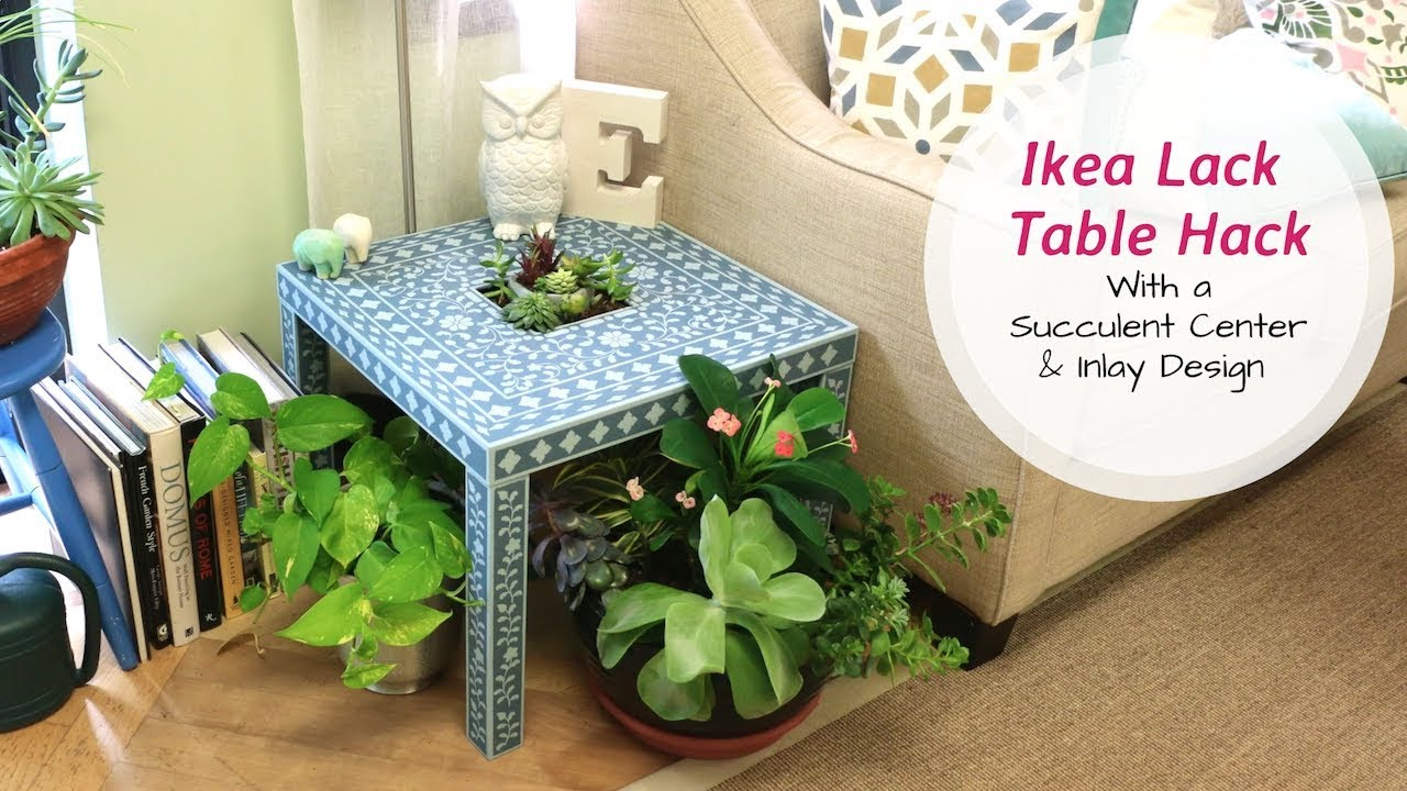 Ikea Lack Table Hack With A Succulent Center and Indian Inlay Stencil Design