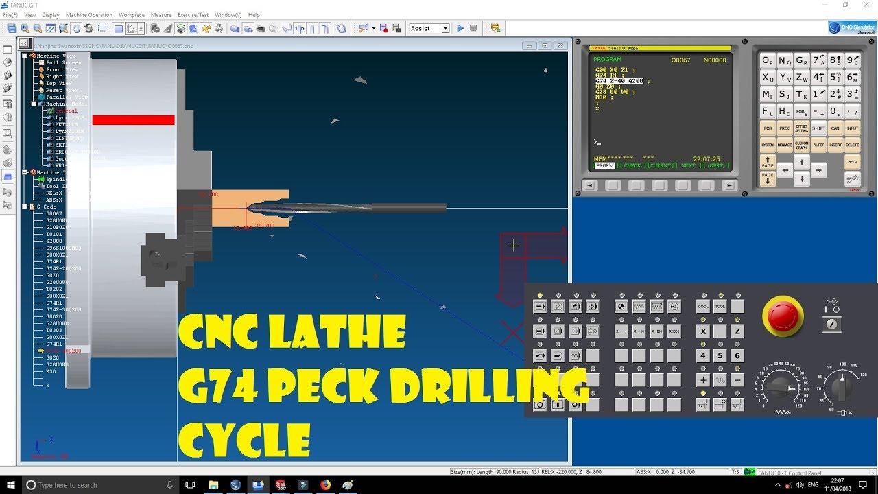 CNC LATHE PROGRAMMING  G74 PECK DRILLING CYCLE  HOW TO DRILL IN CNC LATHE   CNC PROGRAMMING TUTORIAL 