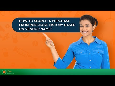 hCue Medical Store Software : How to search a purchase from purchase history based on vendor name?