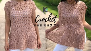 Crochet Poncho Summer Top ( Free Crochet pattern XS-XXL )