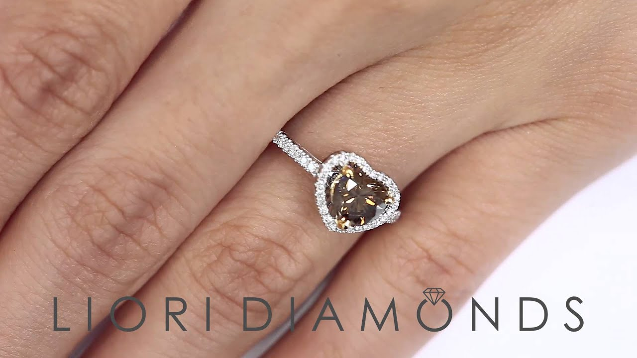 Fd555  129 Carat Natural Fancy Cognac Brown Heart Shape Diamond  Engagement Ring 18k