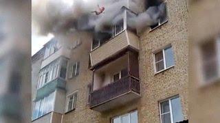 Семья с детьми спрыгнула с пятого этажа, спасаясь от пожара