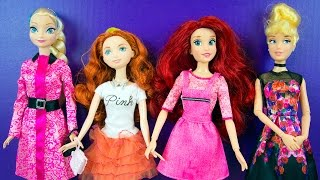 Disney Princess Doll Dress Up Elsa Merida Ariel Cinderella Barbie Clothes