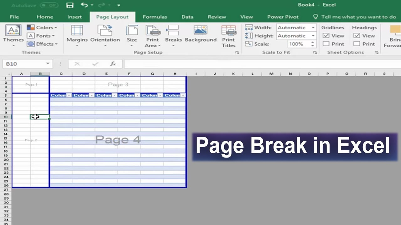 how to make page break disappear in excel