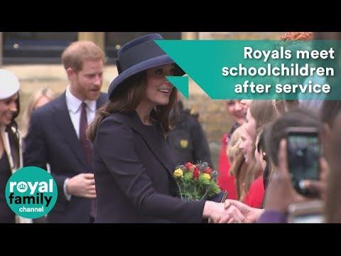 Young Royals meet schoolchildren after Commonwealth service