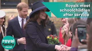 Prince Harry, William, Kate and Meghan Markle meet schoolchildren after Commonwealth service
