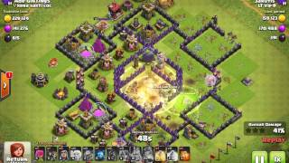Clash of clans TH 9 Queen walk + VaHo attack 3 stars even without cc troops