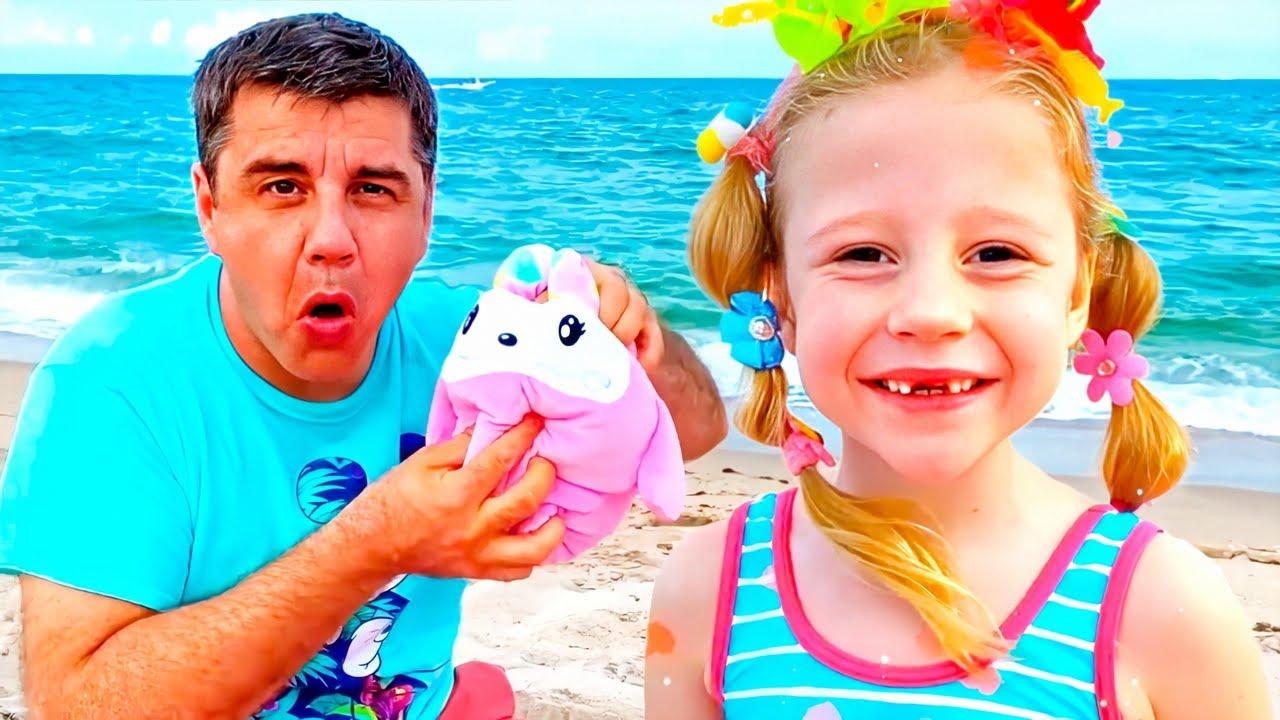 Nastya e papai estão indo para o mar em umas férias deverão