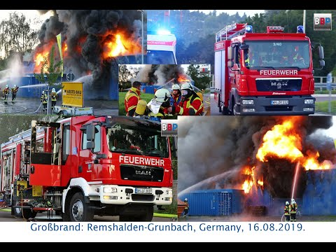 [INFERNO]  Großbrand Baufirma / Multiple Alarm Blaze, Remshalden-Grunbach, Germany, 16.08.2019.