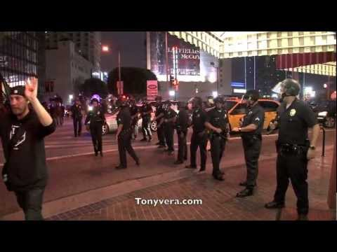 LAPD fires less-than-lethal rounds at rowdy Kings fans downtown