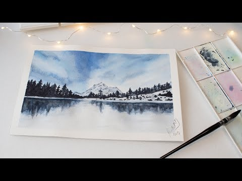 Winter frozen lake, clouds and trees painting, easy watercolor landscape for beginners