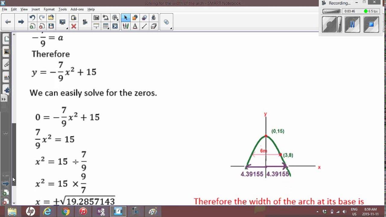 Quadratics: Problem solving of a Parabolic Arch, Length of base & Equation