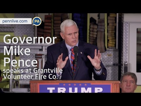 GOP VP Candidate Governor Mike Pence speaks at Grantville Volunteer Fire Company