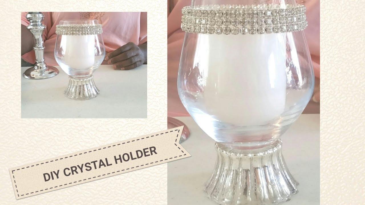 DIY| BLING CANDLE HOLDER WEDDING DECOR /UNDER $5.00 - YouTube