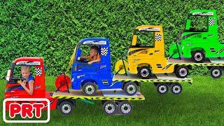Niki anda de reboque e joga a vender carros de brincar para crianças