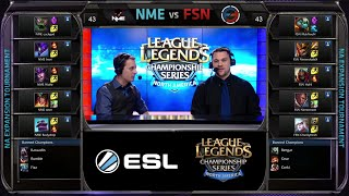 Enemy eSport vs Fusion Gaming Game 1 | NA LCS Expansion Tournament Spring 2015 | NME vs FSN G1 60FPS