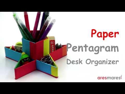 Paper Regular Pentagram Star Pen Holder and Desk Organizer