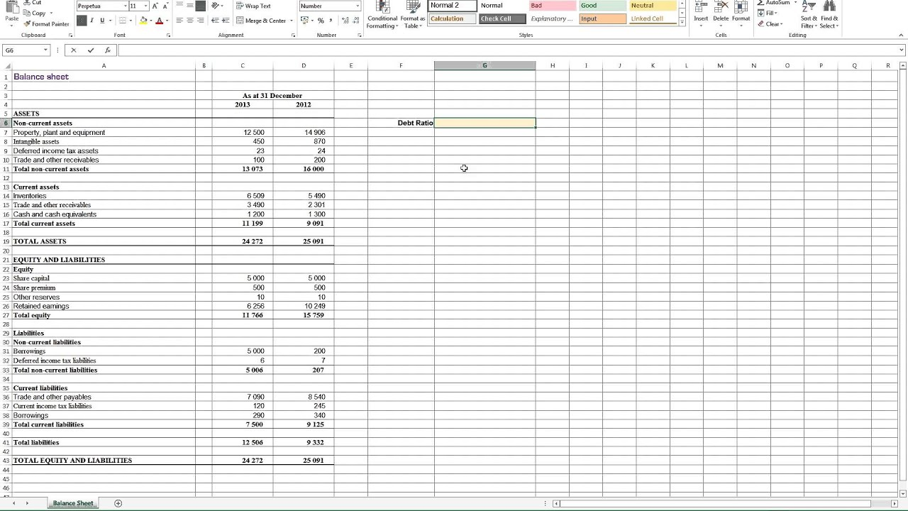 Calculating Debt Ratio In Excel
