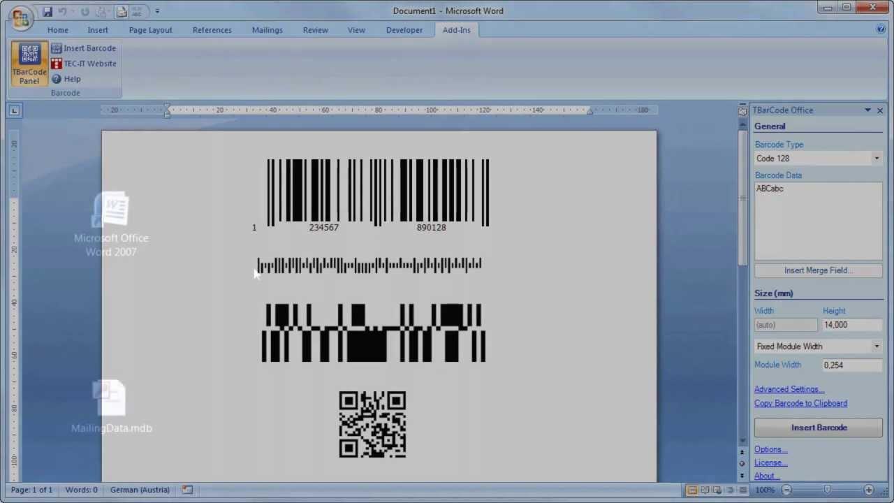 BARCODE Add-In für Microsoft Word - YouTube