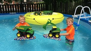 John Deere Excavator Toys in the Pool!