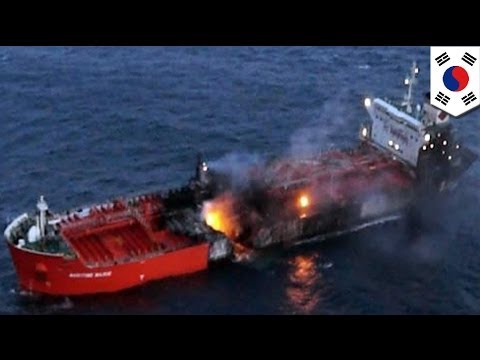 Chemical tanker ship collides with massive South Korean freighter
