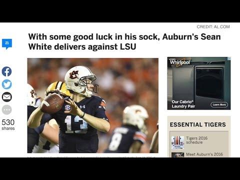 AU Quarterback, Sean White, gets a stroke of good luck...